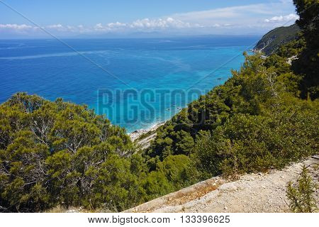 Amazing Seascape with blue waters at Lefkada, Ionian Islands, Greece