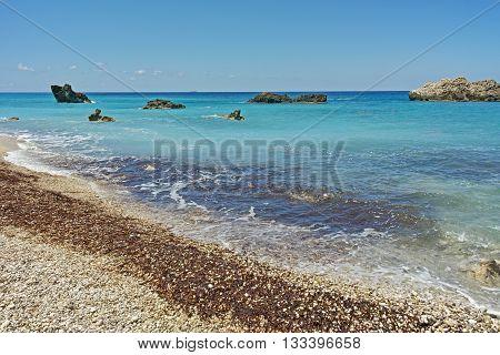 Panoramic view of Katisma Beach, Lefkada, Ionian Islands, Greece