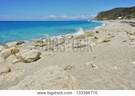 Stones in the water in Katisma Beach, Lefkada, Ionian Islands, Greece