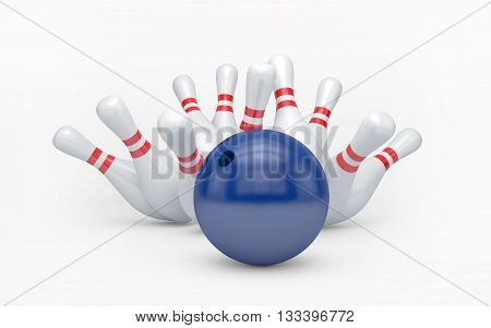 Bowling ball hits skittles isolated on white with clipping path. 3d rendering