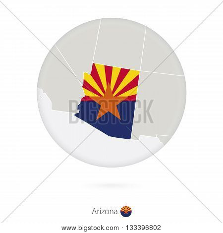 Map Of Arizona State And Flag In A Circle.