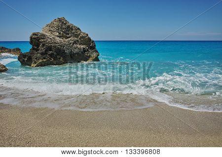 Blue Waters of Megali Petra Beach, Lefkada, Ionian Islands, Greece