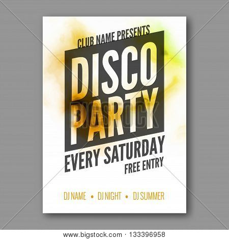 Disco Party Poster Template. Night Dance Party flyer. DJ session. Club party design template on dark colorful background. Dance party watercolor background