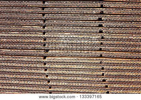 Stack Of Brown Corrugated Cardboard In A Large Pile