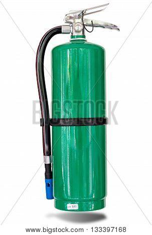 Green fire extinguisher isolated on white backgrund