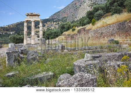 Remainings of Athena Pronaia Sanctuary in Ancient Greek archaeological site of Delphi, Central Greece