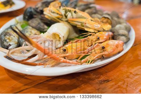 Seafood On White Dish,