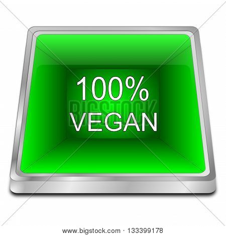 green 100% Vegan Button - 3d illustration