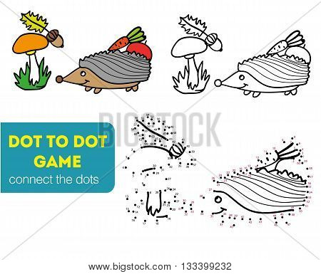 Dot to dot children game. Coloring and dot to dot educational game for kids. Cartoon character. Funny hedgehog