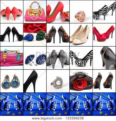 collage of high heelsjewellry and fashion bags with llike icon