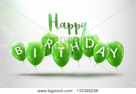 Happy birthday balloons celebration. Birthday party decoration design. Festive baloons lettering template. Celebration poster.