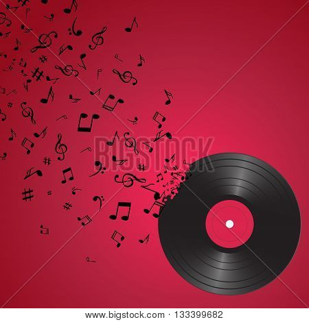 Abstract music background with notes and vinyl. Musical backdrop. Music Notes isolated. Music vinyl object.