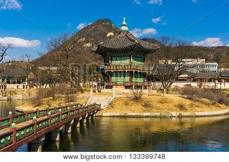 Gyeongbokgung Palace blue sky in seoul Korea.