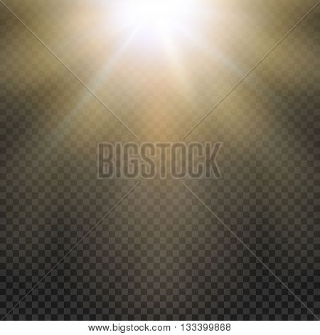 Natural sun Yellow light effect. Sun rays, sun beams on transparent grid. Vector illustration