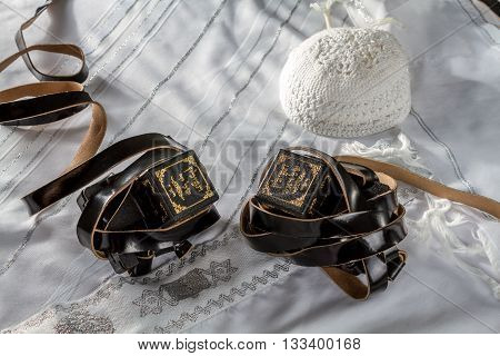 Talit Kippah and Tefillin - Jewish ritual objects elements of prayer vestments
