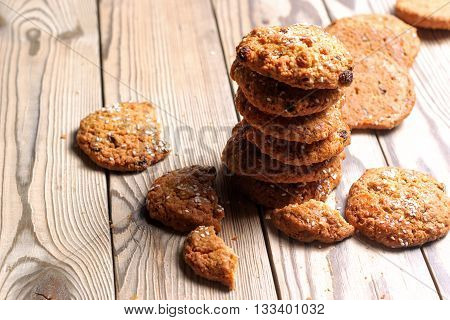 Stack Of Cookies And Pieces On A Wooden Table
