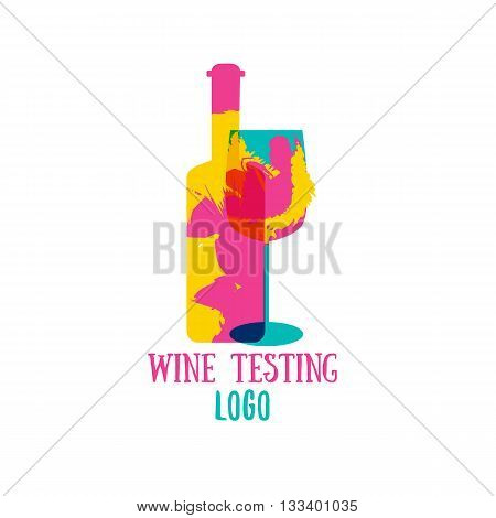 Bottle wine logo Vector with color splash. Logo design template. Concept for wine products, harvest, wine list, menu