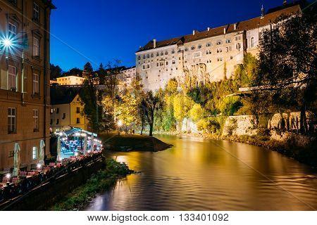 Cesky Krumlov, Czech Republic - October 11, 2014: Beautiful Night View To Castle In Cesky Krumlov Czech Republic. UNESCO World Heritage Site