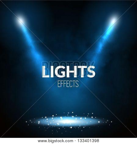 Floodlights spotlights illuminates scene with glowing particles. Show theater, dance, presentation illustration.
