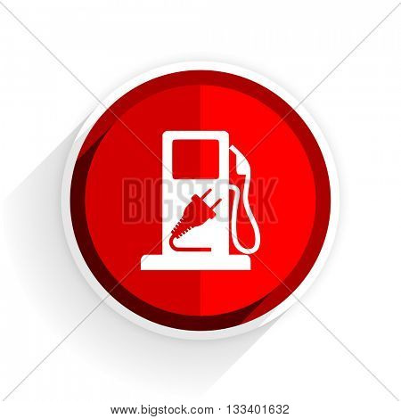 fuel icon, red circle flat design internet button, web and mobile app illustration