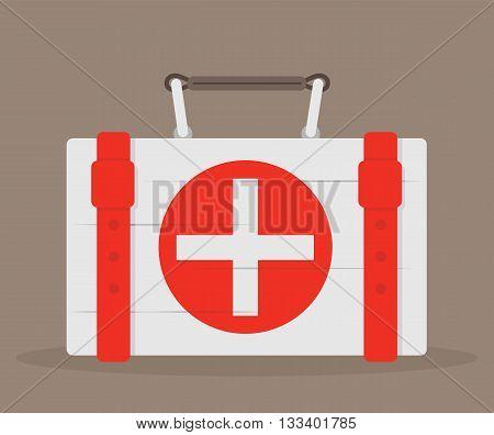 First aid kit. Medical case. Vector illustration