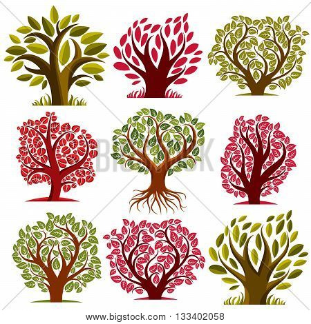 Art vector seasonal trees collection can be used as design symbol on ecology and nature theme. Gardening theme botany symbols.