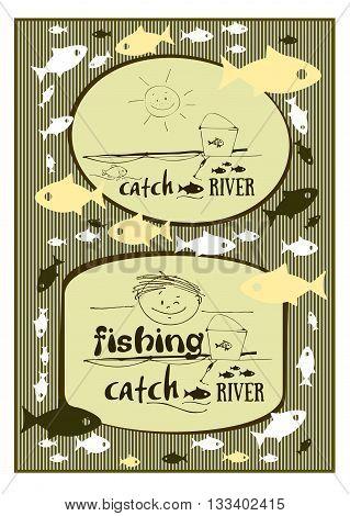 stylized drawing black fishing smiling boy fish fishing pole bucket wave