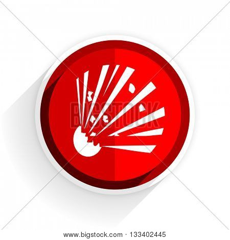 bomb icon, red circle flat design internet button, web and mobile app illustration