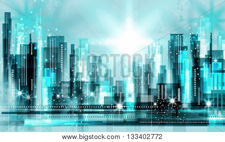 Modern night city skyline at night .