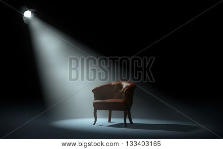 chair on stage under spotlight. 3d rendering