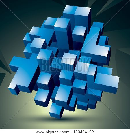 Vector digital 3d abstraction geometric polygonal element. Spatial technological blue shape perspective object.