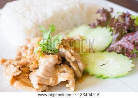Pork fried with crunchy garlic Thai food
