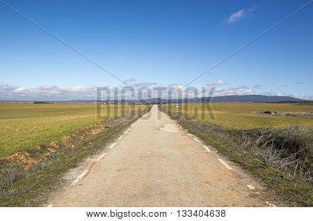 Rural road in Soria, Castilla Leon, Spain