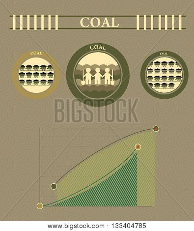vintage infographics coal industry and coal mining