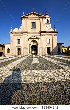 In  The Castano Primo  Old   Church  Closed Brick Tower