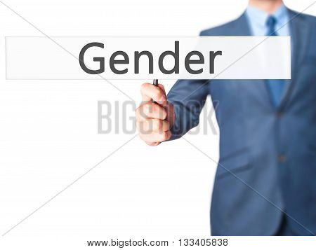 Gender - Businessman Hand Holding Sign