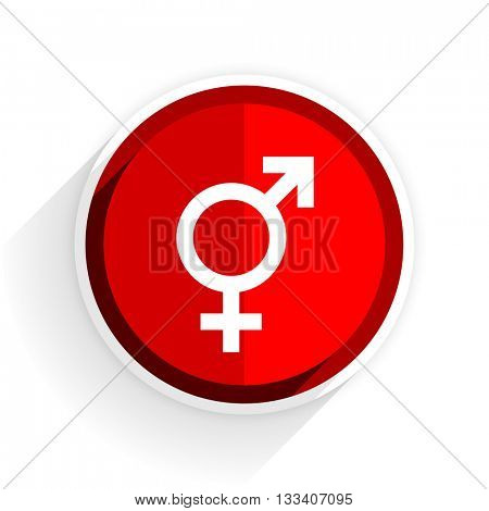 sex icon, red circle flat design internet button, web and mobile app illustration