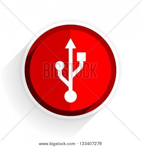 usb icon, red circle flat design internet button, web and mobile app illustration