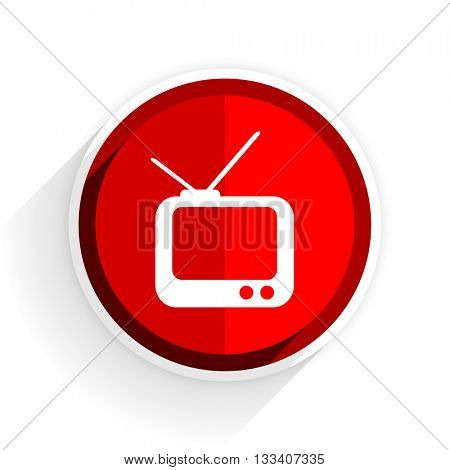 tv icon, red circle flat design internet button, web and mobile app illustration