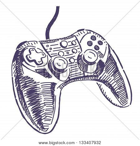 Gamepad for video games vector drawing isolated on white background