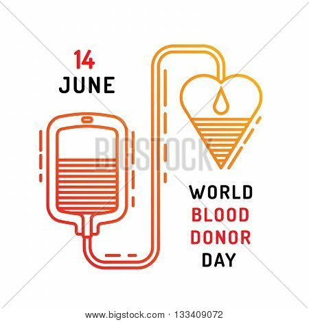 Medical concept on world blood donor day on June 14. Blood donation vector illustration.
