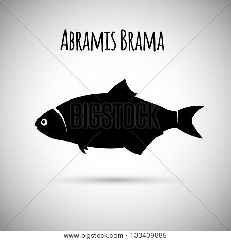 Abramis brama fish vector logo. Bream fish icon. Vector silhouette of Common Bream.