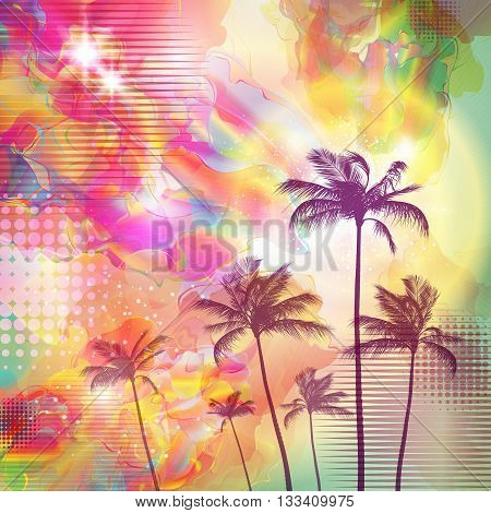 Exotic tropical palm trees with fantasy sunset background . Highly detailed and editable
