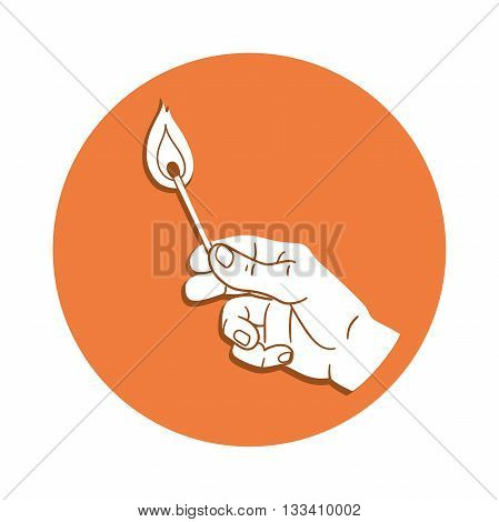 This is an illustration of a hand holding burning match