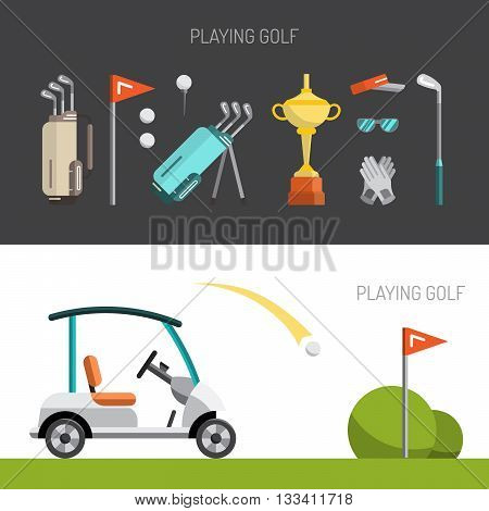 Set of elements for the game of Golf is painted in flat style. Putter for Golf.