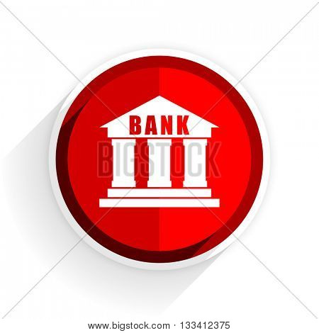 bank icon, red circle flat design internet button, web and mobile app illustration
