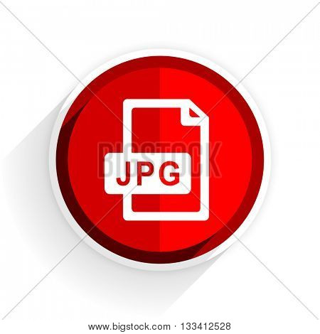 jpg file icon, red circle flat design internet button, web and mobile app illustration