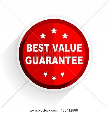 best value guarantee icon, red circle flat design internet button, web and mobile app illustration