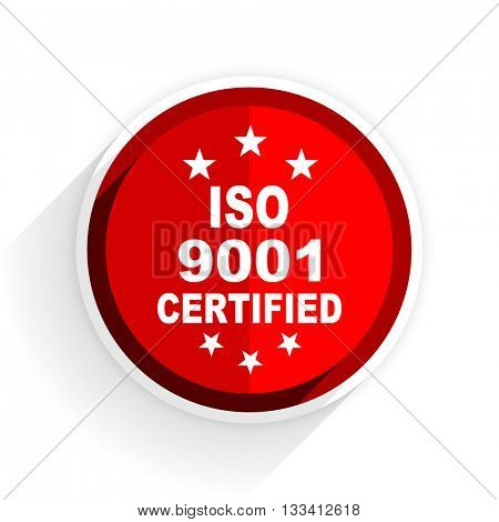 iso 9001 icon, red circle flat design internet button, web and mobile app illustration
