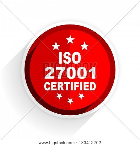 iso 27001 icon, red circle flat design internet button, web and mobile app illustration